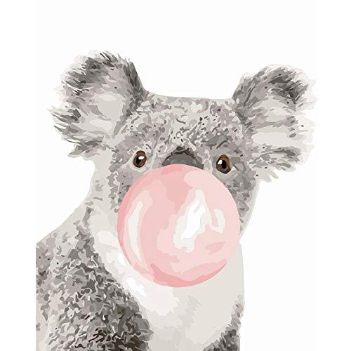 DMLGQ digitaal schilderij om te knutselen, olieverfschilderij, decoratie, door uzelf gemaakt: 40 x 50 cm, koala-kauwgom Encadrée
