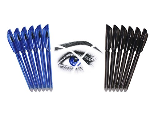 Friction Erasable Pens - Value Pack of 6 Black & 6 Blue Pens with Ultra Fine 0.38mm Point - 12 Erasable Gel Pens - Best for Smooth Writing & Easy Correction - by Hieno Supplies
