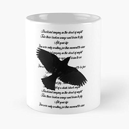 VinTageE Blackbird Bird Rock Song Beatles Music Album Black Best 11 oz Kaffeebecher - Nespresso Tassen Kaffee Motive