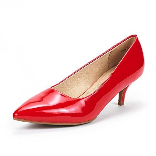 DREAM PAIRS Moda Zapatos Tacón Bajo Pump Mujer Rojo