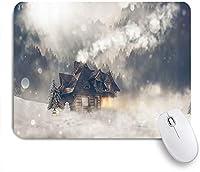 VAMIX マウスパッド 個性的 おしゃれ 柔軟 かわいい ゴム製裏面 ゲーミングマウスパッド PC ノートパソコン オフィス用 デスクマット 滑り止め 耐久性が良い おもしろいパターン (素朴な霧の森木造住宅冬の雪山)