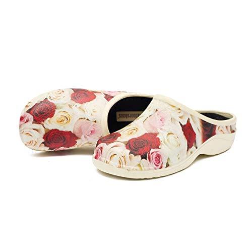 backdoorshoes Bequeme Garten Damen Slipper Clogs Schuhe, Rote und cremefarbene Rosen, EU39
