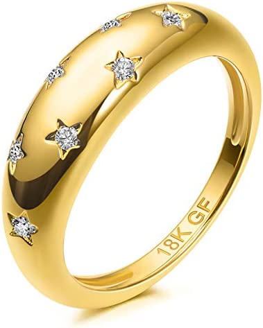 18K Gold Filled 7 Cubic Zirconia Inlayed Star Shiny Dome Ring Statement Ring 8 product image
