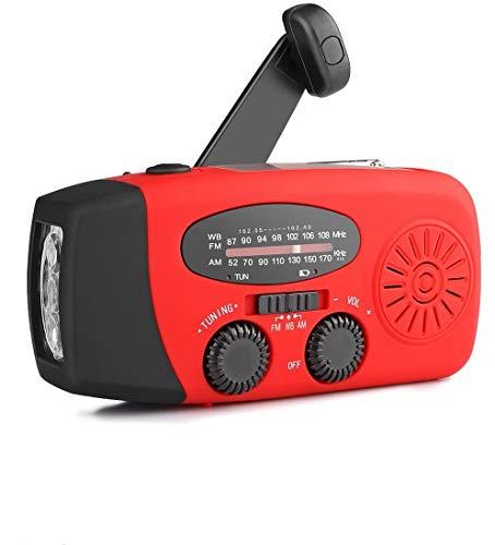 CZAING Portable Solar Powered Radio, Hand Crank AM/FM Weather Radio with...