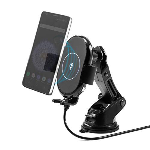 サンワダイレクト スマートフォン用 車載ホルダー Qi充電 吸盤取付 エアコン取付 角度調整 縦横調整 200-CAR071