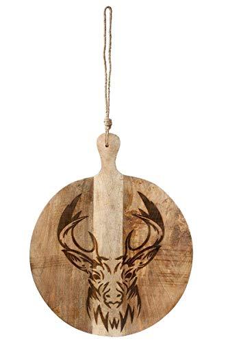GILDE houten plank hert mangohout voor decoratie Afmetingen ca. 112 x 58 x 4 cm ambachtelijk