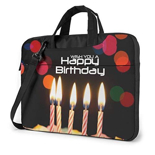 AOOEDM Maletín para ordenador portátil Funda para ordenador Funda para portátil Feliz cumpleaños Maletín impermeable para hombro 13 14 15,6 pulgadas