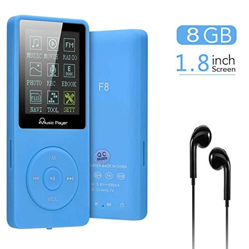 Lychee Reproductor MP3 70 Horas de Reproducción de Música MP3 sin Pérdida de Sonido Hi-Fi Entrada 8 GB de Música MP4 (soporta hasta 64 GB) (Azul)