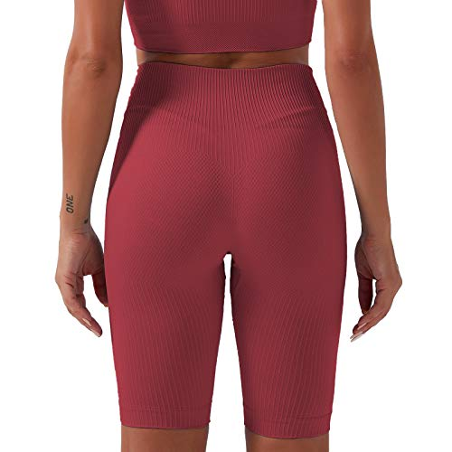 Keepwin Leggins Mujer Push Up Mallas de Deporte de Mujer Pantalones Cortos Yoga Mujer Elástico Cintura Alta Pantalon para Running Gym Fitness (Rojo, Medium)