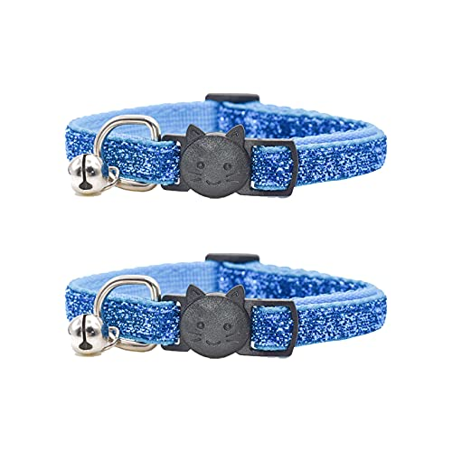 2 collares de gato con campana, collar de gato azul, ancho de 1,0 cm, ajuste: 21 – 34 cm