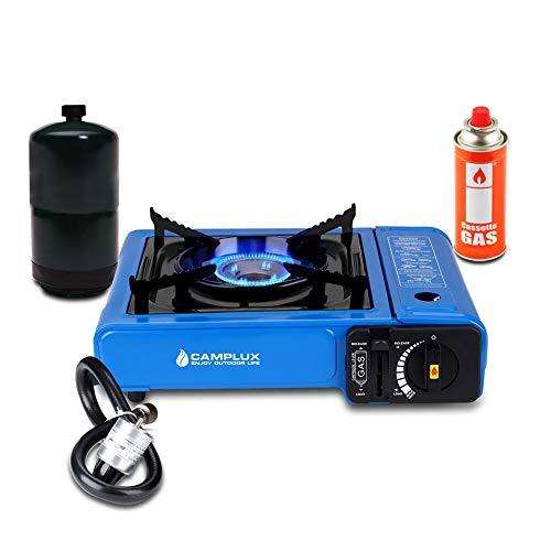 Camplux Dual Fuel Camping Stove, Portable Butane Stove 7200 BTU, Single Burner Propane Stove with Carry Case Blue