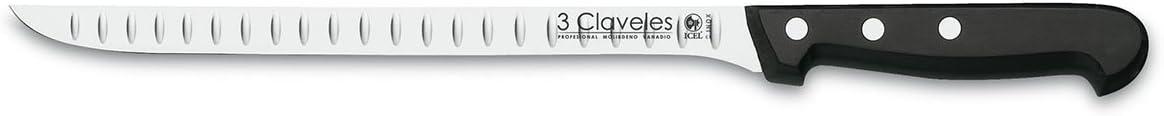 3 Claveles - Cuchillo Jamonero Alveolado, Pulido Mate, Acero Inoxidable - (24cm - 9,5