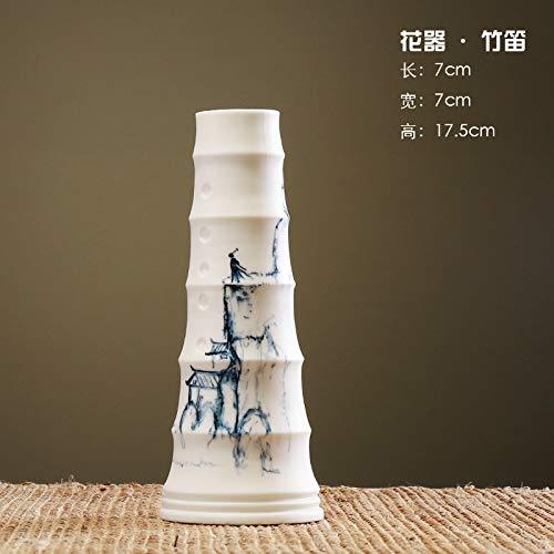 Scultura ornamento artistico creativo vaso in ceramica moderno stile cinese decorazione casa soggiorno Ad001 Fiore dipinto a mano - Flauto di bambù