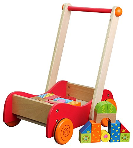Lelin 30 Blocks Wooden Baby Walkie Walkie Walker With Wooden Building Blocks For Toddlers