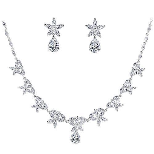BiBeary Zircon CZ Elegante Fiocco di Neve Fiores Maple Collana Orecchini Parure per Donna Tono Argento