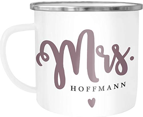 SpecialMe® Emailletasse Becher Emaille Mr & Mrs personalisierbarer Nachname personalisierte Geschenke Hochzeitsgeschenk Mrs weiß-metall Emailletasse