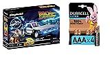 PLAYMOBIL- Back to The Future Juego con Accesorios, Multicolor (70317) + Duracell Ultra AAA con Powerchek, Pilas Alcalinas, Paquete de 4