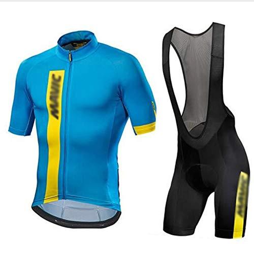 Fahrradanzug für Herren, Kurzarm Oberteil, Radlerhose Trikot mit Gel-Pad, für MTB, Spinning, Rennrad Mens Summer Cycling