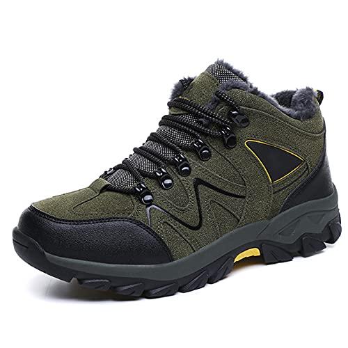 DSFGS Trekking Al Aire Libre Senderismo Zapatos para Caminar, Botas de Andar para Hombre, Zapatos de Senderismo Ligeros para El Invierno,Green-41EU