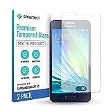 smartect Cristal Templado para Móvil Samsung Galaxy A3 2015 [2x MATE] - Protector de pantalla 9H - Diseño ultrafino - Instalación sin burbujas - Anti-huella