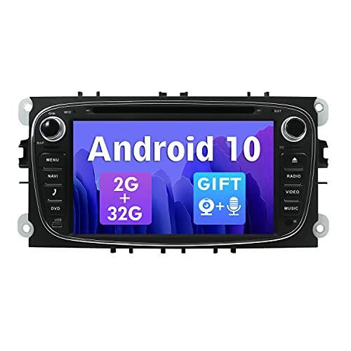 SXAUTO Android 10 Autoradio Compatibile Ford Focus Mondeo S-Max Galaxy C-Max - Gratuita Camera Canbus MIC - [2G/32G] - 2 Din - Supporto 4G WiFi DAB Bluetooth5.0 Volante CarPlay Android Auto Mirrorlink