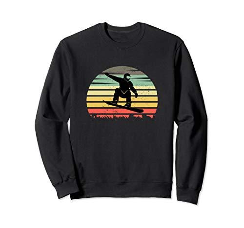 Snowboard Vintage Sunset Silhouette Snowboarden und Ski Sweatshirt