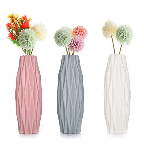 3 Piezas Jarrón de Plástico Florero de Estilo Nórdico Hogar Arreglo de Flores Contenedor Ornamento de Escritorio Florero de Moda para Oficina en Casa