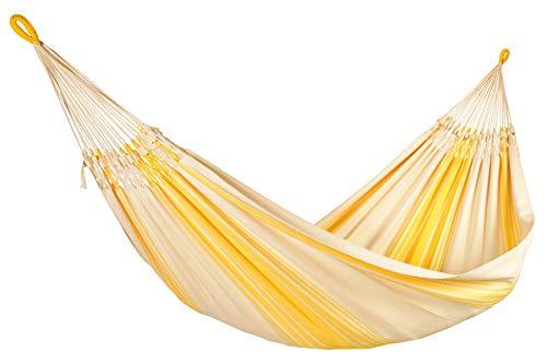 Amalyssa - Hamac Brésilien : Double Deluxe Sunflower - Pur Coton - Jaune & Ecru - Toile Résistante - Confort & Solidité - Séchage Rapide - Lavable 30° - Fabrication Artisanale et Macramé