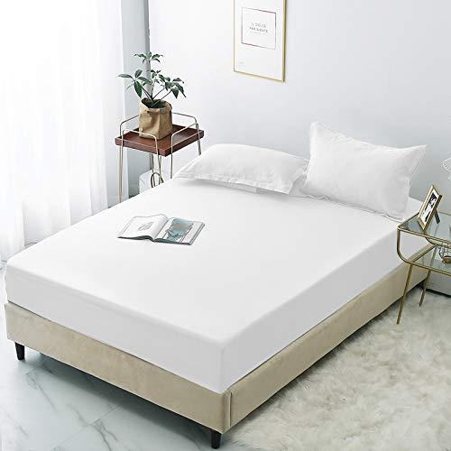 haiba Protector de colchón impermeable, ajustable, transpirable, a prueba de manchas, hipoalergénico y no ruidoso, fácil ajuste, 137 x 200 + 28 cm