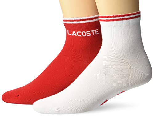 Lacoste Men's 2 Pack Jersey Sock, Red/White, L
