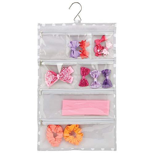 mDesign hängende Schmuckaufbewahrung – platzsparende Hängeaufbewahrung aus Kunstfaser mit Kunststofftaschen für Schmuck und Beautyprodukte – Hängeorganizer für die Kleiderstange – grau und weiß