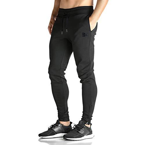Broki - Pantalones de chándal ajustados con cremallera para hombre, pantalones deportivos...