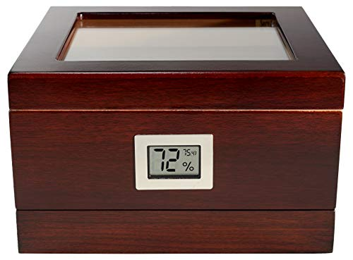 Executive Desktop Cigar Humidor With Digital Hygrometer And Drawer, New Upgraded Capri - Manhattan Model, Tempered Glasstop, Lined With Spanish Cedar, Mahogany Finish, Holds Up To 25 Cigars