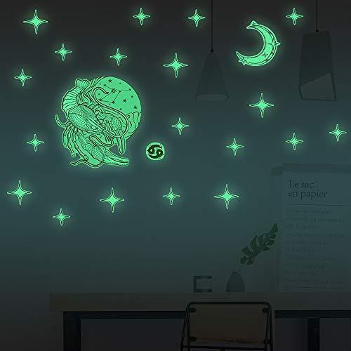 Decoración Luminoso Pegatina,Doce Constelación Estereoscópico Pegatina de Pared Casa Sala Dormitorio Decoración Pegatina