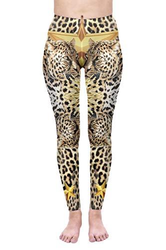 kukubird Printed Patterns Women's Yoga Leggings Gym Fitness Running Pilates Tights Skinny Pants Size 6-10 Stretchable-Leopard Stars
