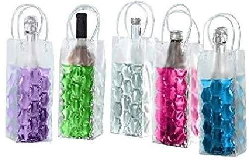 JOKA International 4 Flaschenkühler Tasche mit Eisgel zum einfrieren Sektkühler Weinkühler Farbe Zufallsprinzip
