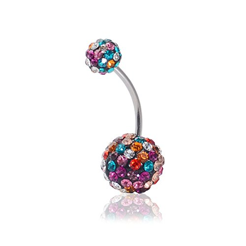 CrazyPiercing Crystal Belly Button Ring, Stainless Steel Navel Piercing Ring Stud Piercing, Colorful Rhinestones Ball Navel Ring 16G