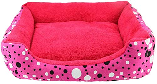 FCXBQ Soft Rose Red Wave Pet Nest Four Seasons Universal Rectangular Small and Medium Velvet Dog Litter Matelas Villa Villa Warm (Couleur: Single Nest, Size: M (13 kg Inside Animal))