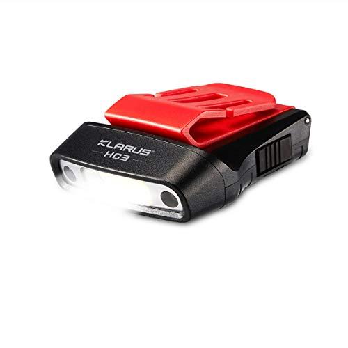 klarus HC3 LED Clip On Cap Leicht Cap Light, Weiss und Rotlicht mit Sensorsteuerung, 5 Modi dimmbar, für die Jagd, Camping, Fischen