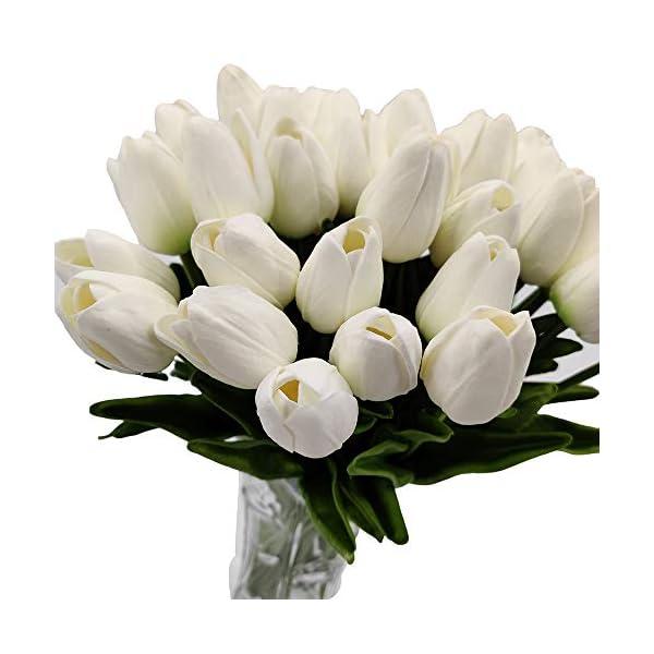 LOHAS Home Tulipanes Artificiales PU Real Touch 36 Piezas Ramo de Flores de Tulipán para la Decoración del Hogar del…
