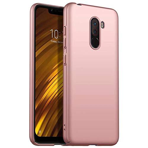 WYRHS Compatibile con Xiaomi Pocophone F1 Custodia PC in Silicone Cover,Ultra Sottile Paraurti Antiurto Resistente ai Graffi Shell del Telefono-Oro Rosa