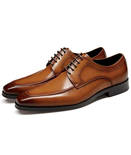 GIFENNSE Men's Dress Shoes Genuine Leather Classic Oxford Formal Men Shoes Brown 7