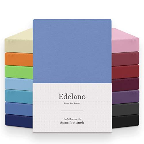 Melunda Jersey Spannbettlaken | 140x200-160x200 cm I Blau | 100% Baumwolle | klassisches Spannbetttuch für Standardmatratzen | Oeko-TEX®