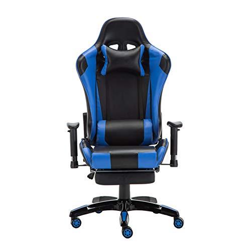 BAIYIQW Gaming-Stuhl, Rennspielstuhl, E-Sportsessel, Liegestuhl, Gaming-Stuhl, Computerstuhl, Spielstuhl, Material, blau, Größe