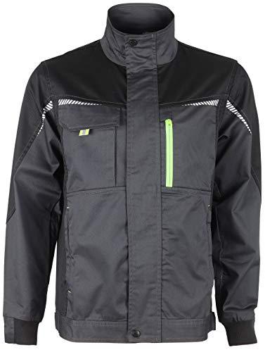 Prisma® - Herren Multifunktionale Arbeitsjacke Bundjacke - reflektierende Streifen - Enge Passform - Grau mit Elasthan EU46