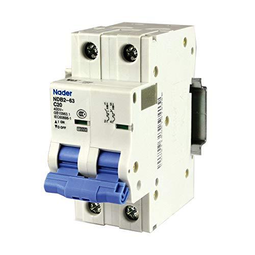 ASI 20 Amp, 2 Pole DIN Rail Mounted Circuit Breaker, C Trip Curve, 240/480V, UL1077, NDB2-63C20-2