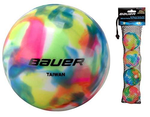 Bauer - Confezione da 4 palline da hockey su strada, senza rimbalzo, tempo freddo o caldo (tempo caldo, multicolore)