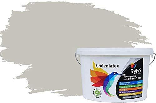 RyFo Colors Seidenlatex Trend Grautöne Mondgrau 12,5l - bunte Innenfarbe, weitere Grau Farbtöne und Größen erhältlich, Deckkraft Klasse 1
