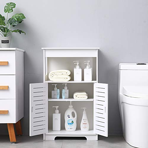 Binrrio Bathroom Storage Floor Cabinet Free Standing with Double Door Double Compartment, Multifunctional Bathroom Organizer Bathroom Storage Shelves in Bathroom, Living Room White