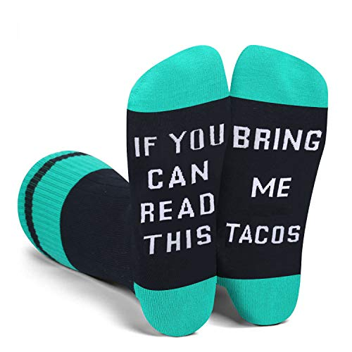 If You Can Read This Novelty Funny Saying Taco Crew Socks, Gag Gift for Men